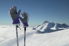 Narciarskie rękawiczki na słupach na tle południowa skłonu Aibga grań Zachodni Kaukaz przy Rosa Khutor Alpejskim kurortem Obraz Stock