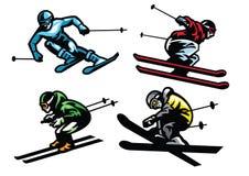 Narciarstwo atlety w secie ilustracji