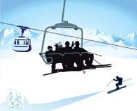 Narciarstwo i chairlift w zimie ilustracja wektor