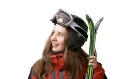 narciarze dziewczyny się uśmiecha Obrazy Royalty Free