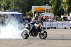 Narcis Roca burnout. With the motorcycle at the Iubim 2 roti (We love two wheels) event in Romania, at Romexpo. At this event it was seen a show made of Free Stock Photos