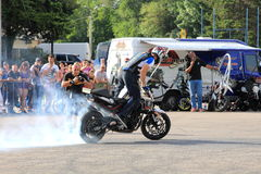 Narcis Roca burnout. Narcis Roca performing a burnout at the Iubim 2 roti (We love two wheels) event in Romania, at Romexpo. At this event it was seen a show Stock Image