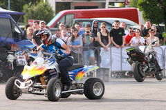 Narcis Roca drifting with the quad. At the Iubim 2 roti (We love two wheels) event in Romania, at Romexpo. At this event it was seen a show made of Free riders Royalty Free Stock Image
