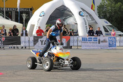 Narcis Roca drifting with the quad. At the Iubim 2 roti (We love two wheels) event in Romania, at Romexpo. At this event it was seen a show made of Free riders Stock Image