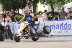 Narcis Roca with the quad on two wheels Stock Photography