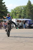 Narcis Roca wheelie. With the motorcycle at the Iubim 2 roti (We love two wheels) event in Romania, at Romexpo. At this event it was seen a show made of Free Stock Images