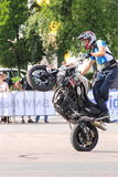 Narcis Roca wheelie. With the motorcycle at the Iubim 2 roti (We love two wheels) event in Romania, at Romexpo. At this event it was seen a show made of Free Royalty Free Stock Photos
