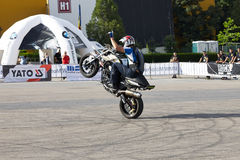 Narcis Roca wheelie. With the motorcycle at the Iubim 2 roti (We love two wheels) event in Romania, at Romexpo. At this event it was seen a show made of Free Royalty Free Stock Image