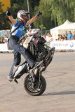 Narcis Roca wheelie. With one wheel motorcycle at the Iubim 2 roti (We love two wheels) event in Romania, at Romexpo. At this event it was seen a show made of Royalty Free Stock Images