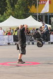 Narcis Roca wheelie. With one wheel motorcycle photographed at the Iubim 2 roti (We love two wheels) event in Romania, at Romexpo. At this event it was seen a Royalty Free Stock Photo
