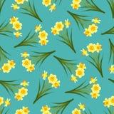 Narciso amarelo amarelo - Narcissus Seamless em Teal Background azul Ilustração do vetor ilustração do vetor