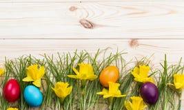Narcisos amarelos e ovos da páscoa da composição Imagem de Stock
