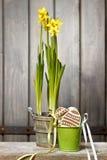 Narcisos amarelos na cesta no fundo de madeira imagem de stock royalty free