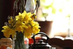Narcisos amarelos no interior retro imagem de stock royalty free