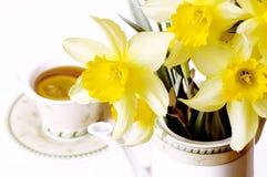 Narcisos del resorte y taza de té Foto de archivo libre de regalías