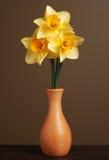 Narcisos en florero de madera Imágenes de archivo libres de regalías