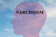 Narcissism - mental concept. Render illustration of NARCISSISM title on head silhouette, with cloudy sky as a background Stock Photos