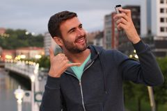 Narcissist male taking a selfie Stock Images