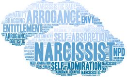 Narcissist Word Cloud. On a white background Royalty Free Stock Images