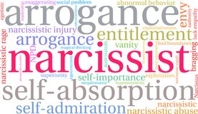Narcissist Word Cloud. On a white background Stock Photography