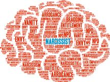 Narcissist Word Cloud. On a white background Royalty Free Stock Photo