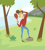 Narcissistic modern prince, funny young man character looking at mirror on the background of summer landscape vector. Illustration cartoon style Stock Image