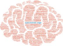 Narcissistic Rage Word Cloud. On a white background Stock Photography