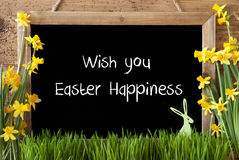 Narcissus, Bunny, Text Wish You Easter Happiness Royalty Free Stock Photo