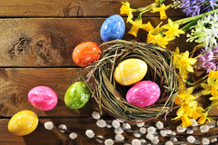 Narcissus and easter eggs Royalty Free Stock Photos