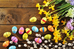 Narcissus and easter eggs Royalty Free Stock Image