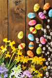 Narcissus and easter eggs Royalty Free Stock Photo