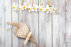 Free Narcissus Flower, Decorative Heart On A Light Wooden Background. Selective Focus. Space For Text. Stock Image - 70501241