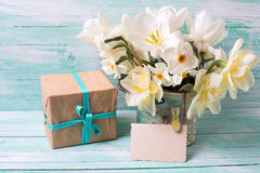 Narcissus flowers , empty tag for text , box with present  on tu Royalty Free Stock Photo