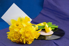 Narcissus flowers, envelope on background with vinyl record Royalty Free Stock Images