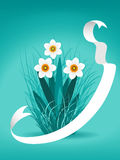 Narcissus and ribbon Royalty Free Stock Images
