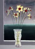 Narcissuses in a vase. Is painting drawn by me at art school Royalty Free Stock Photo