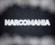 Narcomania neonbokstäver SAD mood också vektor för coreldrawillustration stock illustrationer