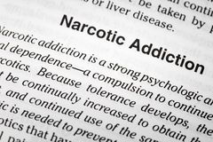 Narcotic addiction dependence health definition. Narcotic addiction dependence dictionary definition medical psychologic physical dependency royalty free stock images