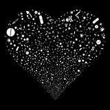 Narcotic Drugs Fireworks Heart. Narcotic Drugs fireworks with heart shape. Raster illustration style is flat white iconic symbols on a black background. Object Royalty Free Stock Image