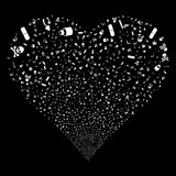 Narcotic Drugs Fireworks Heart. Narcotic Drugs fireworks with heart shape. Raster illustration style is flat white iconic symbols on a black background. Object Royalty Free Stock Photography