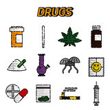Narcotic drugs flat icon. Vector illustration, EPS 10 Stock Photo