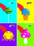 Narcotic substances. Acidic lollipop and Frog. Narcotic sweetnes. S and mushrooms. Tongue licking addict Psych stuff. Toxic hallucinogenic fly agaric and ice Royalty Free Stock Photos