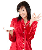 Narcotic, young woman with heroin. White background Royalty Free Stock Photography