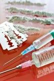 Narcoticamisbruik - het gebruik van de cocaïnedrug Stock Fotografie