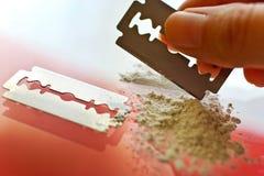 Narcotics abuse - cocaine drug use. Criminality problem stock photo