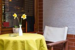Narcyza kwiat w wazie w kawiarni Zdjęcie Stock