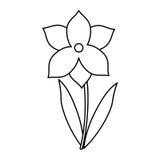 Narcyza kwiatu wiosny sezonu cienka linia ilustracji