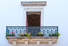 The Baroque architectures in the town of Nardò. Nardò,  Italy, detail of the architectures of the houses in the Stock Image