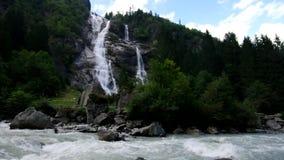 Nardis Waterfall in Alps stock footage