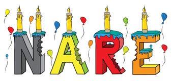 Nare θηλυκό κέικ γενεθλίων ονόματος δαγκωμένο ζωηρόχρωμο τρισδιάστατο γράφοντας με τα κεριά και τα μπαλόνια Στοκ Εικόνες